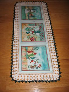 Aunt Roo's Snowmen Warm Wishes fabric table runner w/ crocheted edging.....