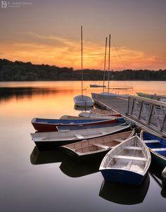 Sunset on Jamaica Pond, Jamaica Plain, Boston, Massachusetts