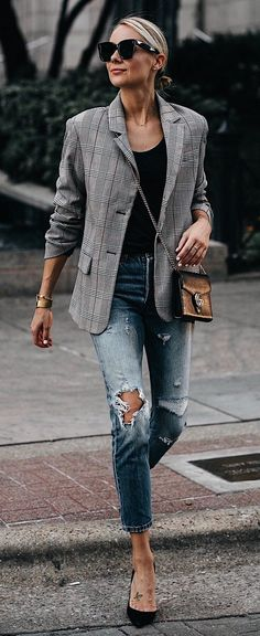 #fall #outfits women's gray and black blazer and distressed fitted jeans