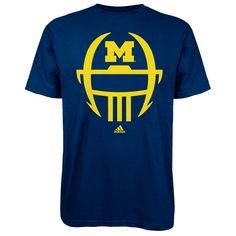 Adidas University of Michigan Football Navy Facemask Go-To Tee! $18