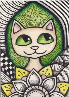 ACEO-Zentangle-Inspired-Lime-Green-Cat-Original-Art