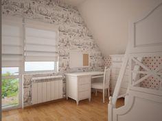 Projekt pokoju dla dwóch dziewczynek 11l i 8l. W projekcie wykorzystano meble z serii romantycznej oraz tapety marki York Wallcoverings i Polka Dots - PT JET SET.