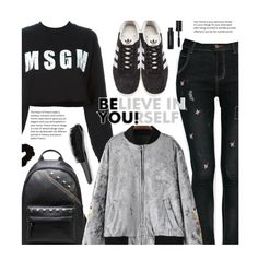 """School Style: Velvet Bomber Jacket"" by beebeely-look ❤ liked on Polyvore featuring MSGM, adidas Originals, Forever 21, Bobbi Brown Cosmetics, BackToSchool, adidas, velvet, schoolstyle and sammydress"