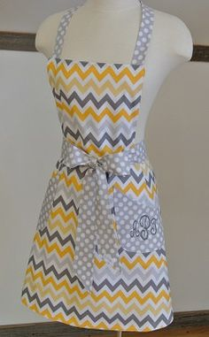 LizzysBiz - Personalized Dark & Light Gray and Yellow Chevron by LizzysBiz