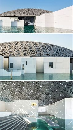 This is How Louvre Abu Dhabi was Constructed Over 8 Years is part of architecture - Louvre Abu Dhabi is the first branch of an international museum to ever open in the Middle East Ateliers Jean Nouvel has done a great job designing the cu Architecture Design, Water Architecture, Parametric Architecture, Architecture Presentation Board, Islamic Architecture, Amazing Architecture, Louvre Abu Dhabi, Airport Design, Commercial Architecture