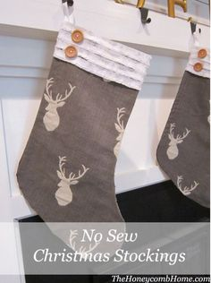 No Sew Christmas Stockings | DIY Christmas Stockings | Homemade Christmas Project, see more at http://diyready.com/diy-christmas-stockings-homemade-christmas-project