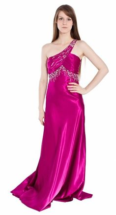 Raspberry Pageant Gown Beaded Single Shoulder Strap Satin Ruched Top $207.99
