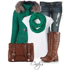 Outfit verde con café