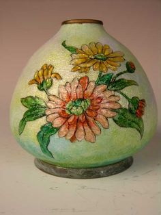 CAMILLE FAURE~FRENCH (1874-1956)~enameled vase with bunches of flowers