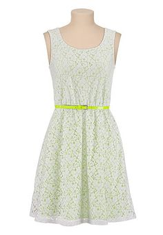 Lace dress with neon skinny belt (original price, $44) available at #Maurices