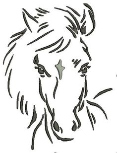 A Horse's Head, Flying Mane - Machine Embroidery Design Symbolizing S . Pencil Drawings Of Animals, Horse Drawings, Horse Face, Horse Head, Grey Tabby Kittens, Spirit The Horse, How To Make Stencils, Book Folding Patterns, Wood Burning Patterns