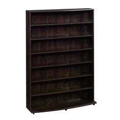 Multimedia Storage Tower Media Shelf Organizer Bookshelf Rack Cabinet CD DVD VHS #Sauder
