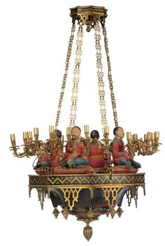 A chinoiserie ormolu gilt and polychrome decorated twenty-four light chandelier. Christies