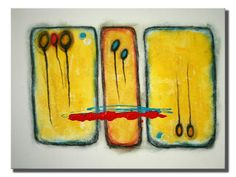 ORIGINAL ABSTRACT PAINTING 18in. X 24in. Yellow / by Victor Boba Art
