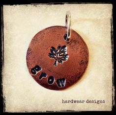 GROW STAMPED CHARM  3/4 inch Copper Disc  Hand by hardweardesigns, $14.00