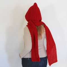 Red hooded scarf, open ends scarf with hood, red scoodie, long hooded scarf, Calypso Long Color Calipso, Hooded Scarf, Winter Day, Wool Yarn, Gifts For Women, Cowl, Hoods, Winter Fashion, Pink