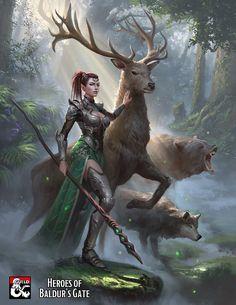 f Ranger Medium Armor Cloak Lance Circlet female Buck Druid male Grizzly Bear Wolf Companions Mixed Forest Hills river story lg Fantasy Concept Art, Fantasy Character Design, Fantasy Artwork, Character Art, Dungeons And Dragons Characters, Dnd Characters, Fantasy Characters, Fantasy Warrior, Fantasy Girl
