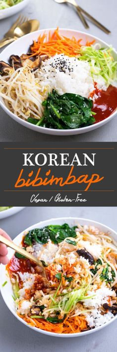 Vegan Korean Bibimbap: a classic Korean dish of rice and seasonal sautéed vegetables served with a spicy Gochujang chilli sauce.