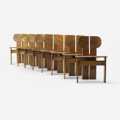 // Afra and Tobia Scarpa; Walnut, Ebony, Leather and Brass 'Artona' Chairs for Maxalto, 1975.