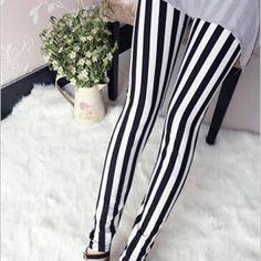 Zebra Stripes Leggings Black And White Stripes