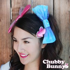 Image of Vinyl Blue Heart Bow. Available at www.iamchubbybunny.com