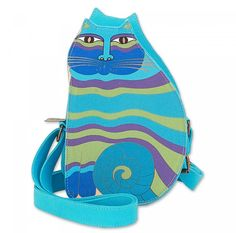 "Laurel Burch Turquoise Feline Family Cut Out Crossbody with zippered closure and adjustable crossbody strap. 6"" X 2.5"" X 9.5"" FREE SHIPPING at beehappyquilting.com"
