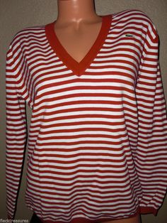 NWT! Womens Lacoste V~Neck Sweater Red & White Striped Croc Logo Retails @ $155  #Lacoste #VNeck 10% Goes to Susan G. Komen Breast Cancer Awareness :)