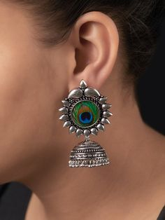 Buy Silver Toned Handcrafted Peacock Feather Brass Jhumkies online at Theloom