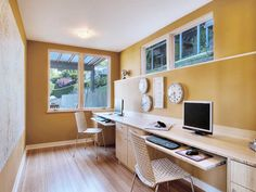 stylish home office ideas furnished with natural wood furniture sleek laminate flooring simple computer setup basement office setup 3 primary