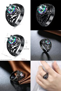 [Visit to Buy] Hot Fashion Luxury Vintage Black Zircon CZ Crystal Colorful Rings For Women Wedding engagement Jewelry rings #Advertisement