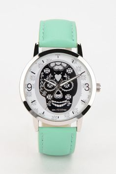 Mint green sugar skull watch.  I need to add this to my watch collection.