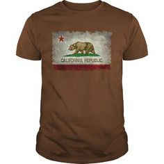Awesome Tee California Republic Flag in vintage retro style T shirts