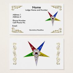 Order of the eastern star profilebusiness card double sided order of the eastern star profilebusiness card reheart Image collections