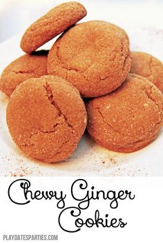 Soft and delicious, these chewy ginger cookies are full of holiday spices. Make an extra large batch to share with friends and family. http://playdatesparties.com/2014/12/12-days-of-christmas-cookies-chewy-ginger.html