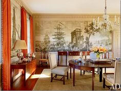 Amelia Handegan designed this dining room with a handpainted paper.