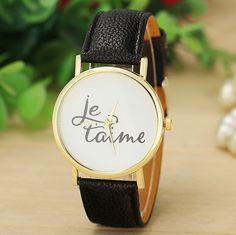 Aliexpress.com  Comprar 3 colores recién llegado Je t aime reloj correa de cuero  relojes mujeres pulsera de cuarzo Ladies relojes BW SB 1365 de watches nice  ... ccb8b8119392