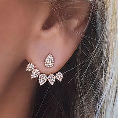 Diamond Tear Drops Ear Jackets
