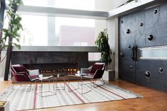 In reception, a sleek modern fireplace was a major addition. Nearly beats gathering around a bonfire on the nearby beach.