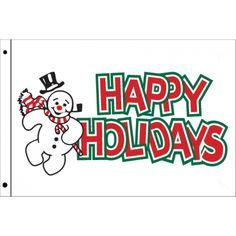 "3x5 ""Happy Holidays Snowman"" Seasonal Flag; Nylon H&G - Flags A Flying"