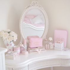 Styling My Princess Dressing Table, Girly Bedroom, Vanity, Makeup Storage Shabby Chic Bed Linen, Shabby Chic Pink, Bedroom Vintage, My New Room, My Room, Pink Dressing Tables, Dressing Table Vanity, Pink Vanity, Chic Bedding