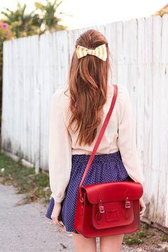 blush sheer top, & polka dot skirt, striped bow, & red purse <3!!! ~~ #SteffysProsAndCons