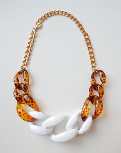 Tortoise Shell Necklace tortoise statement necklace chunky link COPACABANA