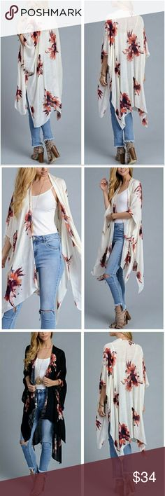 """Ivory bohemian Floral Kimono scarf The pretty Kimono Make it must have kimono! Super soft 100% viscose. 38""""x 46"""". Also available in black color. Boutique item. PRICE FIRM. Bundle & save. Fast shipping. Feel free to ask any question. Accessories Scarves & Wraps"""