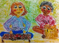 Pastel of Music Students from the book Language Arts, Math, and Science in the Elementary Music Classroom: a Practical Tool