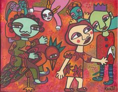 Free Ride : Naive Art : Mixed Media : By Karin Greenwood South African Art, Vibrant Colors, Colours, Different Media, Naive Art, Mixed Media, My Arts, Free, Vivid Colors