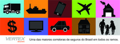 Capa para Facebook com ilustrações representando alguns dos ramos de seguros que a Vertex oferece.