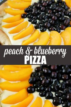 Peach & Blueberry Pizza - Pizza for dessert, yes please! It's topped with a creamy, sweet sauce, fresh blueberries and sliced peaches. Homemade Desserts, Sweet Desserts, Easy Desserts, Delicious Desserts, Sweets Recipes, Baking Recipes, Easy Recipes, Cobbler, Mousse