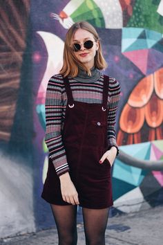 outfit street art stripes dungarees