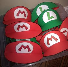 mario and luigi party hats - Visors-----Maybe this could be next year's Christmas theme....video games or technology!