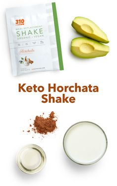 This yummy shake provides 24g of nourishing fats and 18g of plant-based proteins. Plus, you can sip on this shake as a satisfying and healthy meal, snack or dessert! Shake Recipes, Keto Recipes, Healthy Recipes, Protein Powder Recipes, Horchata, Meal Replacement Shakes, Vegan Keto, Plant Based Protein, Calorie Counting